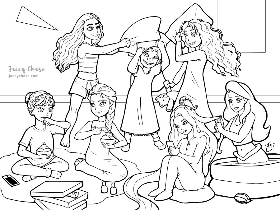 900x675 Princess Sleepover Party Coloring Page By Jacey Chase