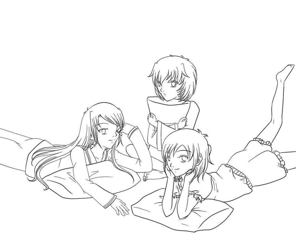 1001x797 Sleepover Line Art By Pegasusvalkyrie
