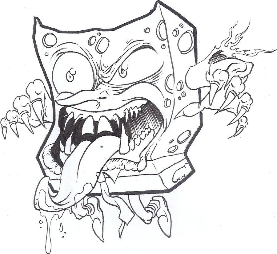 900x827 Sleepover Commission Monster Spongebob By Neonprime
