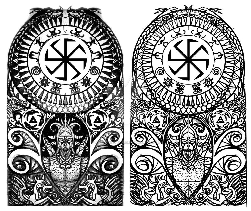 1024x861 Scythian Tribal Half Sleeve Tattoo By Thehoundofulster