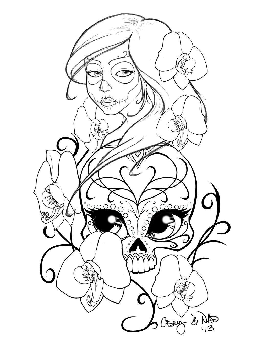 1024x1325 Sugar Skull Sleeve Tattoo Design By Kcspaghetti