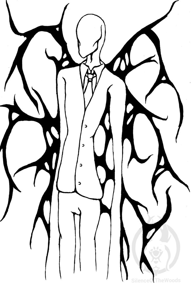 735x1088 Slender Man Line Art By Silenceofthewoods