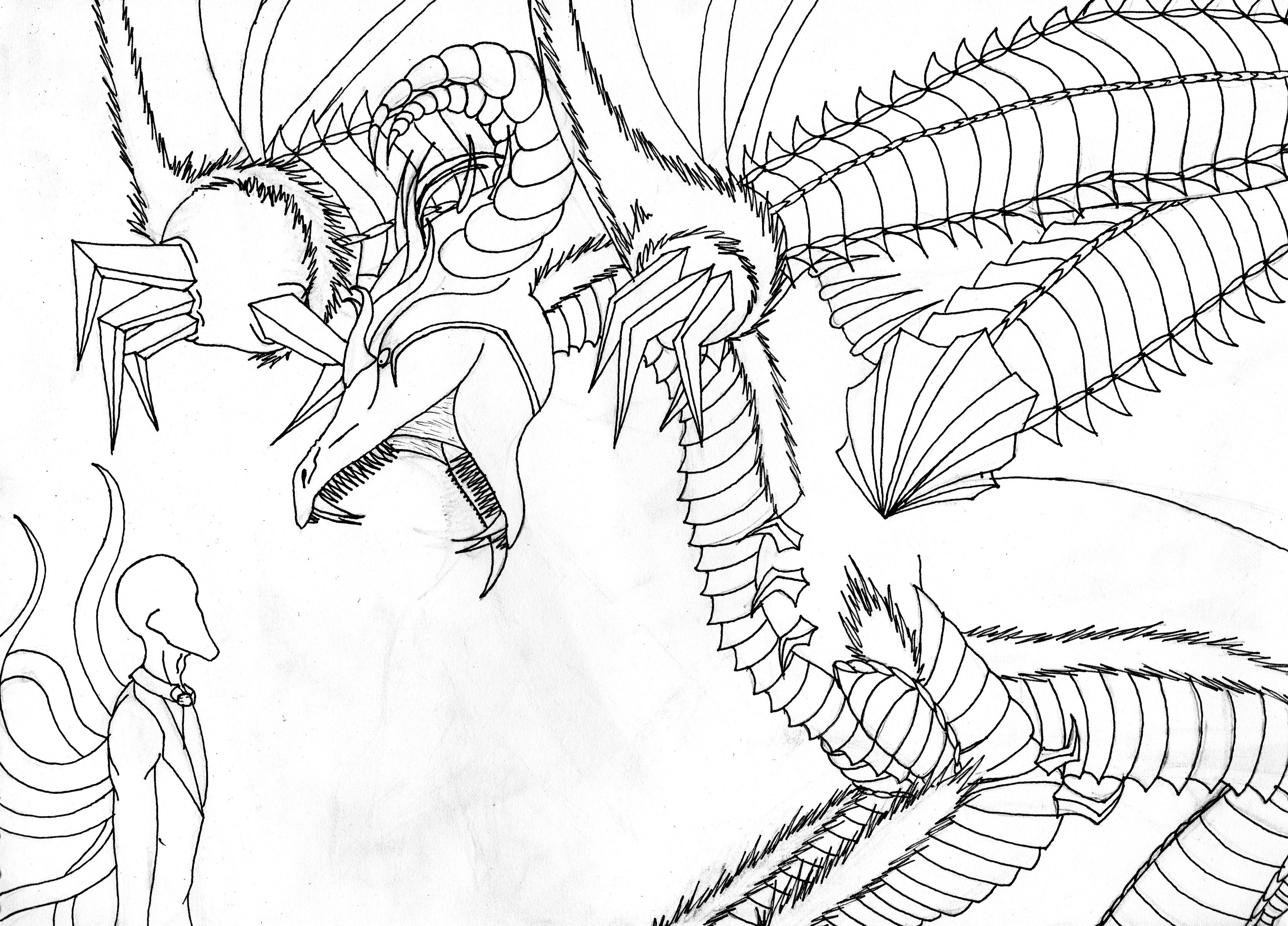 3355x2411 Slender Man Vs Alex's Dragon Form By Rubysmooby