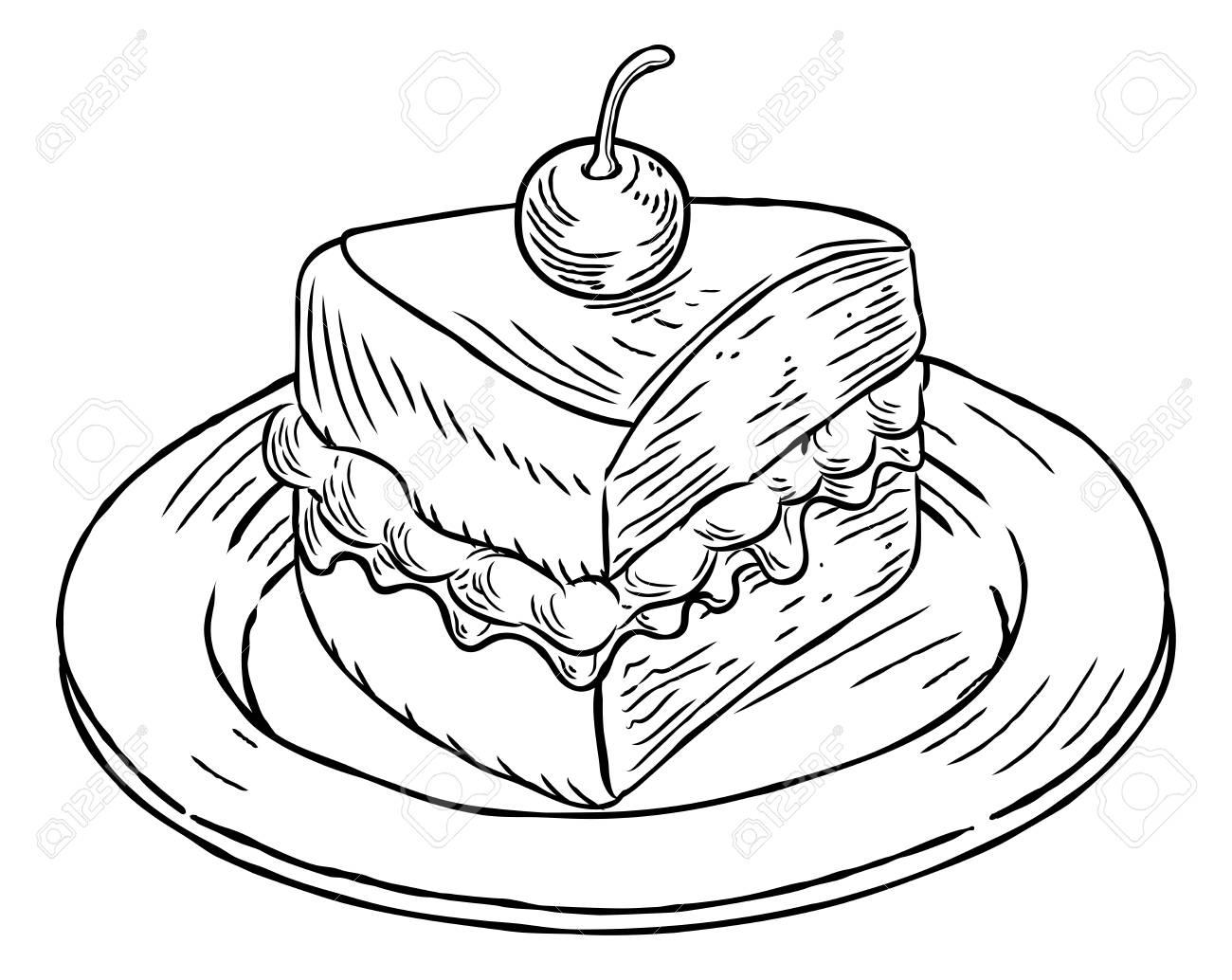 1300x1034 Cake Slice Vintage Retro Woodcut Style Stock Photo, Picture
