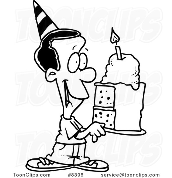 581x600 Cartoon Black And White Line Drawing Of A Black Birthday Boy