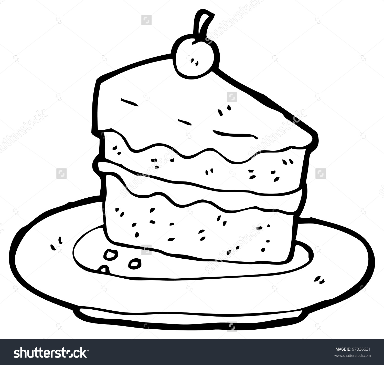 1500x1424 Slice Of Cake Drawing Cartoon Stock Ilration