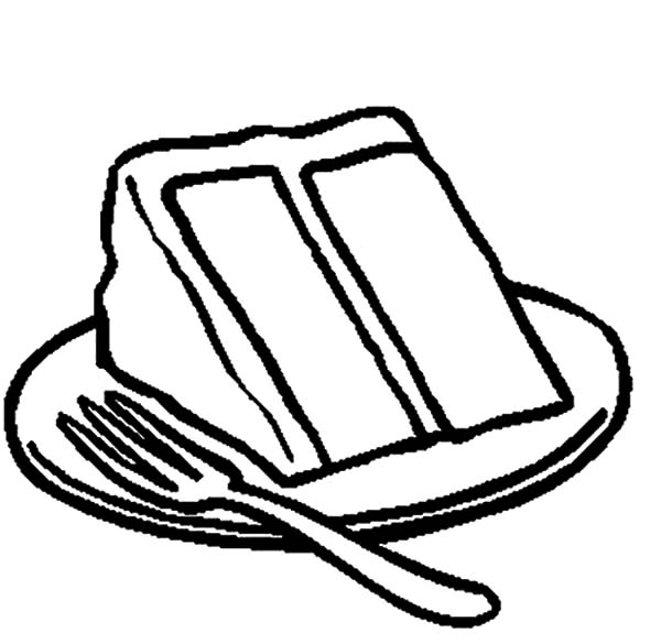 600x585 Slice Of Chocolate Cake On Plate With Fork Coloring Pages