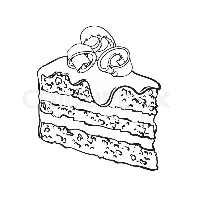 800x800 Black And White Hand Drawn Piece Of Layered Chocolate Cake