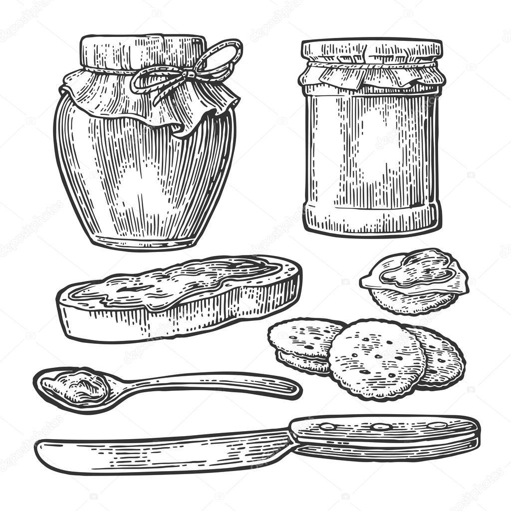 1024x1024 Jar, Spoon, Knife And Slice Of Bread With Jam. Stock Vector
