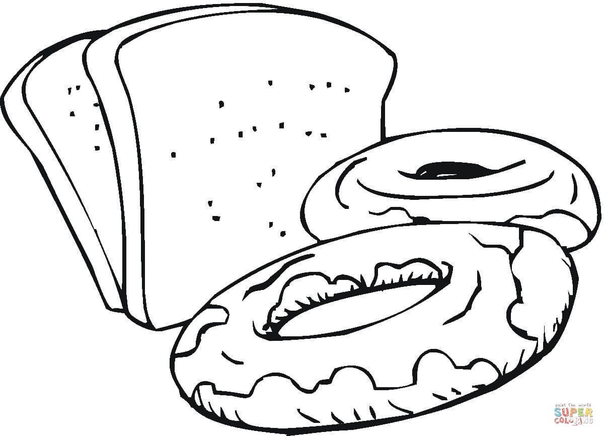 1200x866 Slices Of Bread And Sweets Coloring Page Free Printable Coloring