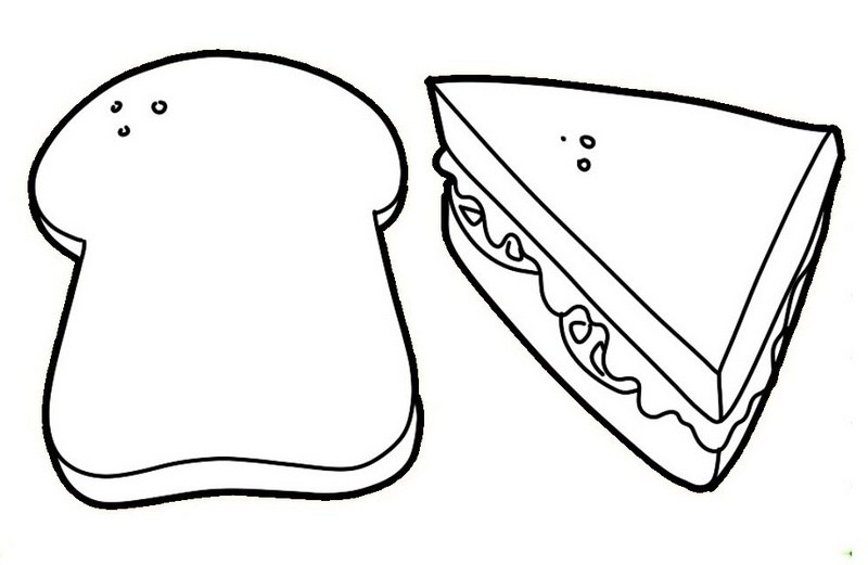 coloring pages bread - slice of bread drawing at free for