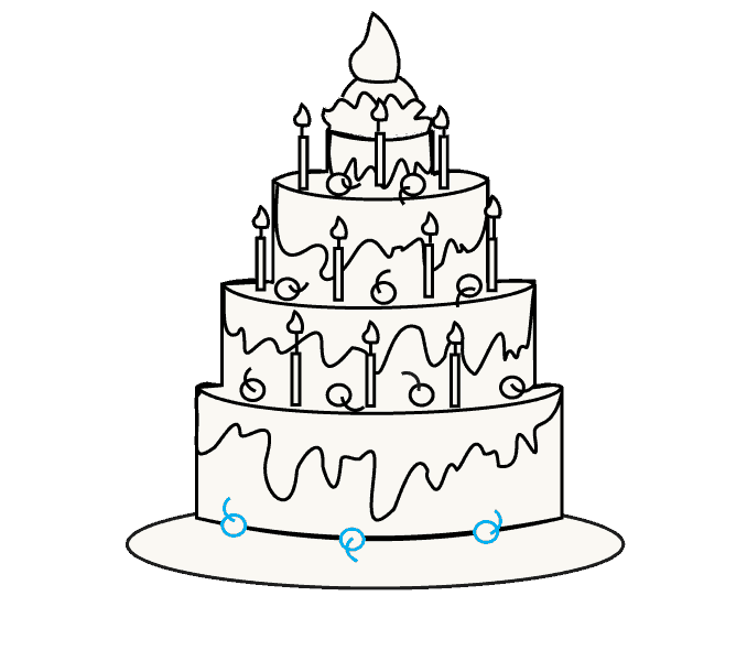 678x600 How To Draw A Birthday Cake How To Draw A Birthday Cake Step Step
