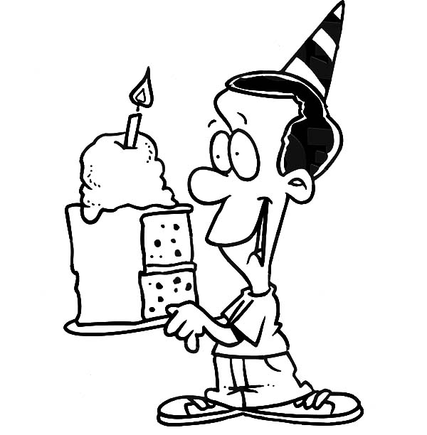 600x612 Birthday Boy Holding A Slice Of Cake Coloring Pages Best Place