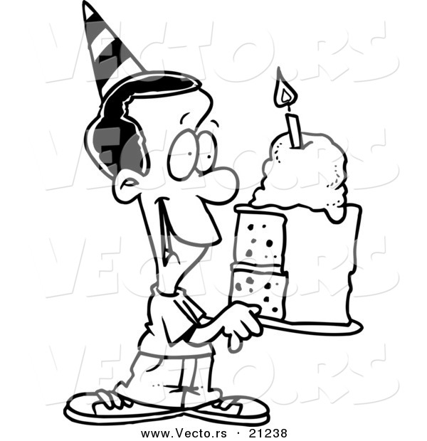 600x620 Vector Of A Cartoon Black Birthday Boy Holding A Slice Of Cake