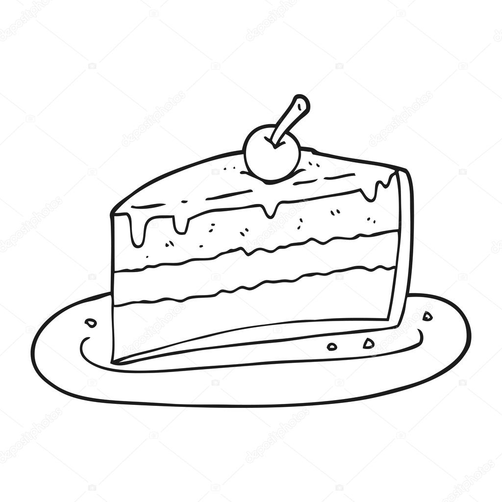 1024x1024 Black And White Cartoon Slice Of Cake Stock Vector