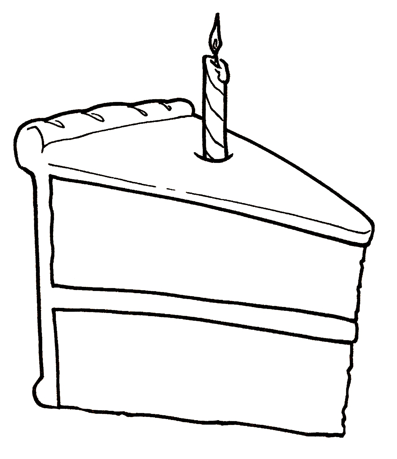 Piece Of Birthday Cake Clipart Black And White