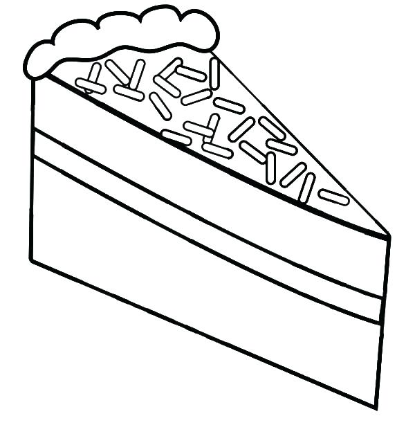600x627 Cake Coloring Sheet Strawberry Cake Slice Coloring Pages Birthday