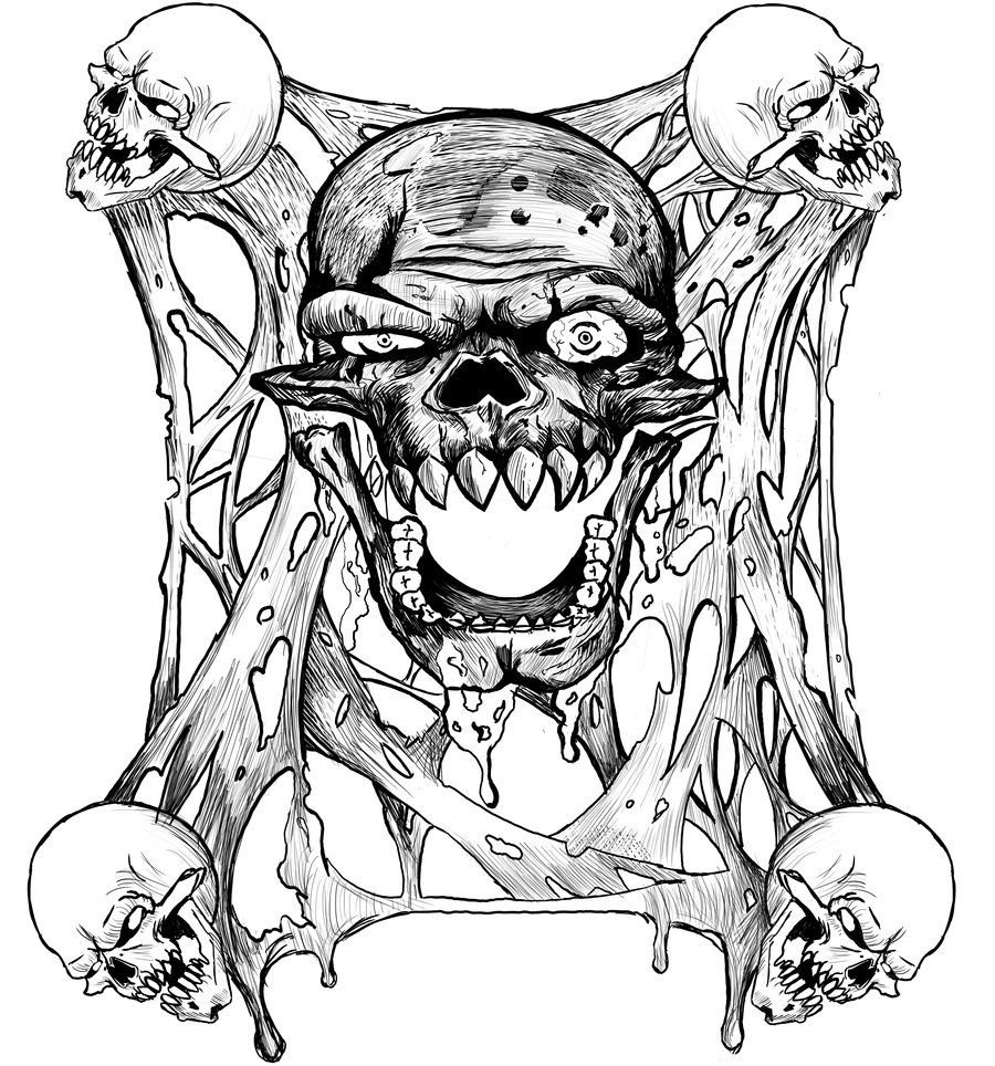 900x964 Skull And Slime By Brandongroce123