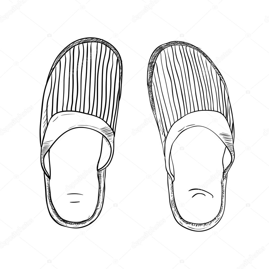 1024x1024 Hand Drawn Slippers Stock Vector Beatwalk