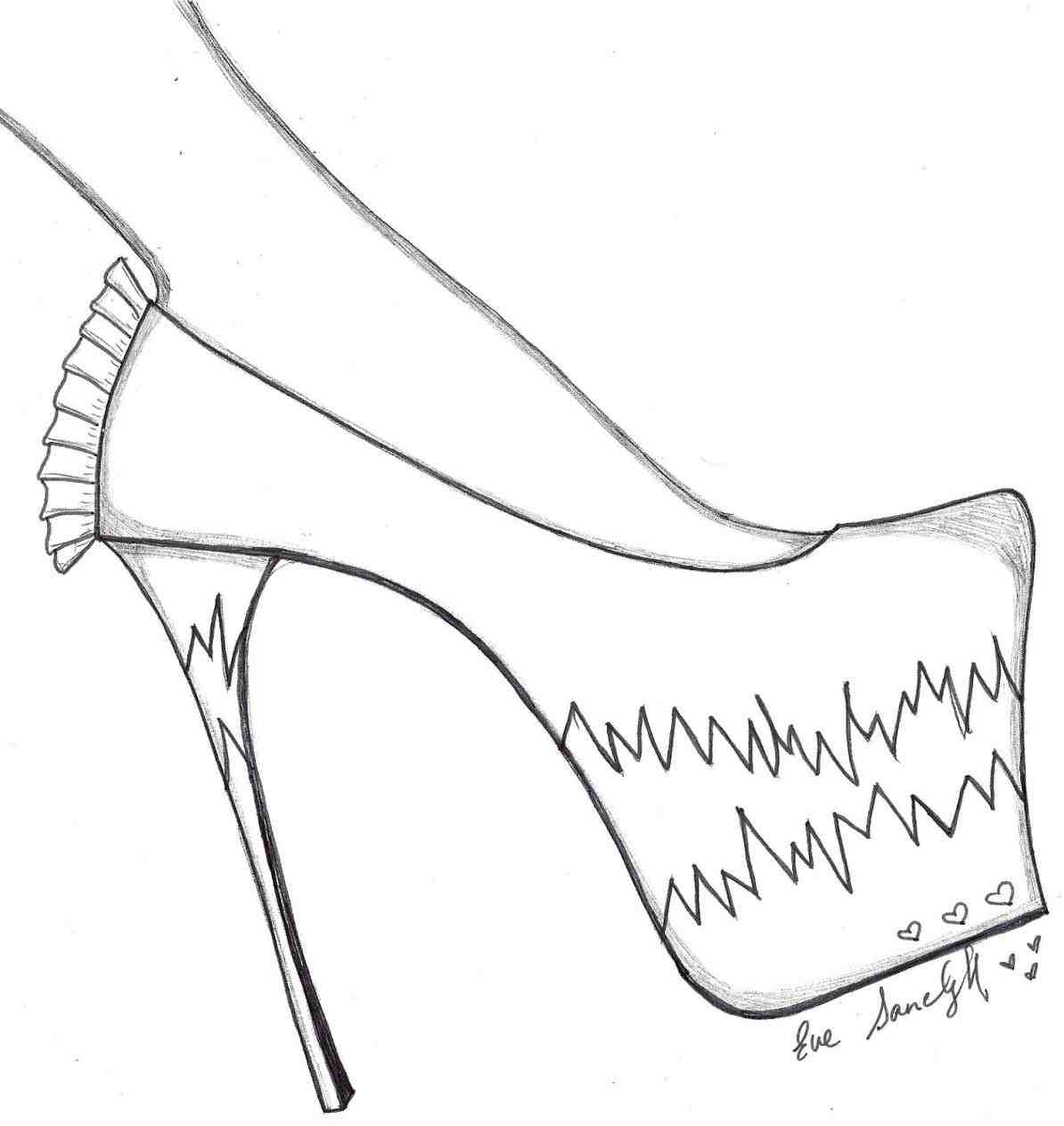 1194x1264 Cinderella Slippers Drawing