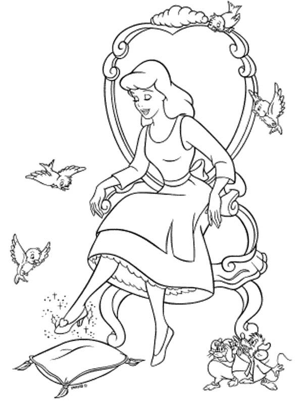 600x800 Cinderella Trying Glass Slipper In Cinderella Coloring Page