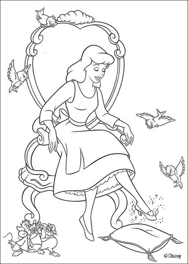 607x850 Cinderella Trying The Glass Slipper Coloring Pages