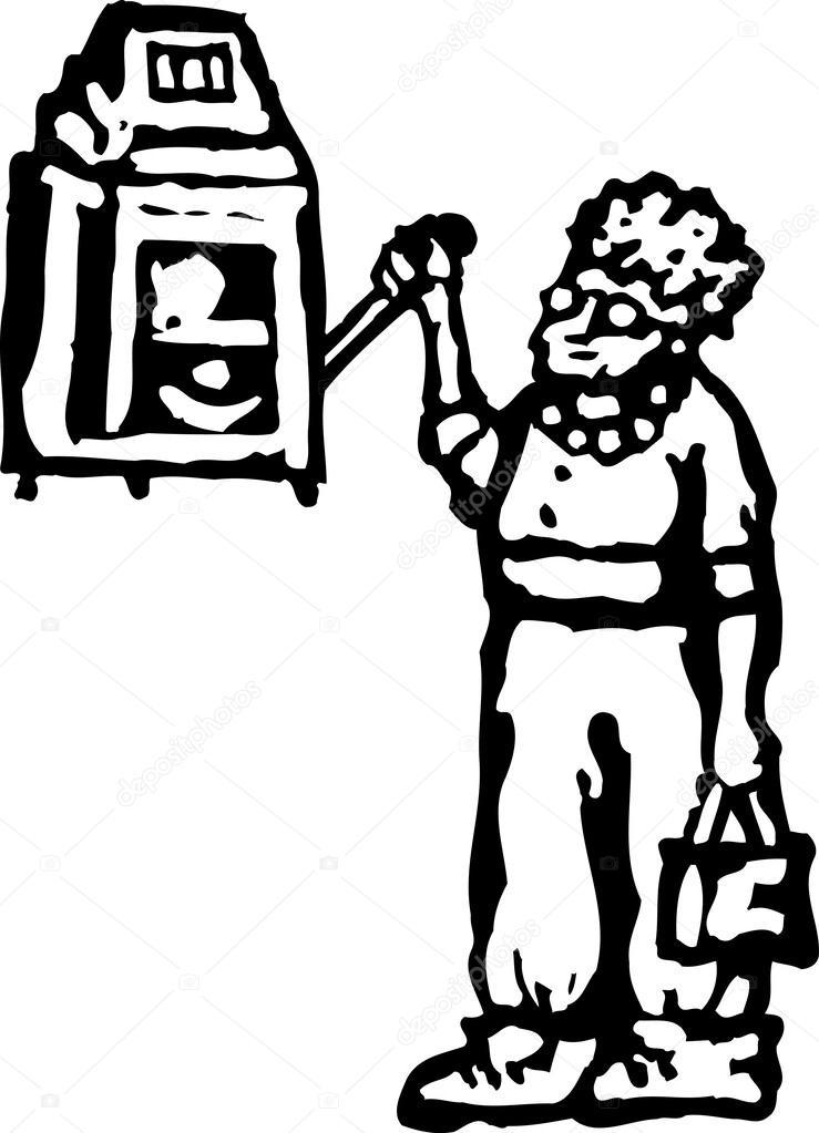 739x1023 Vector Illustration Of Senior Woman Gambling On Slot Machine