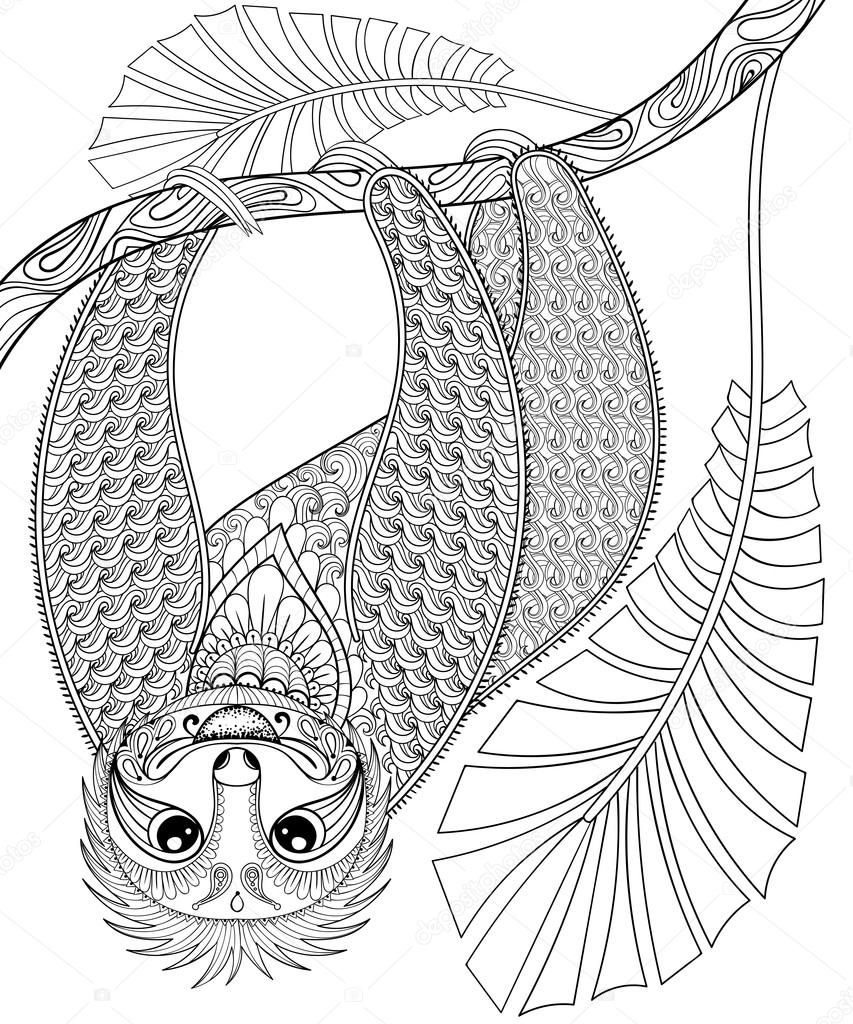853x1024 Vector Zentangle Three Toed Sloth Climbing On A Branch, Print Fo