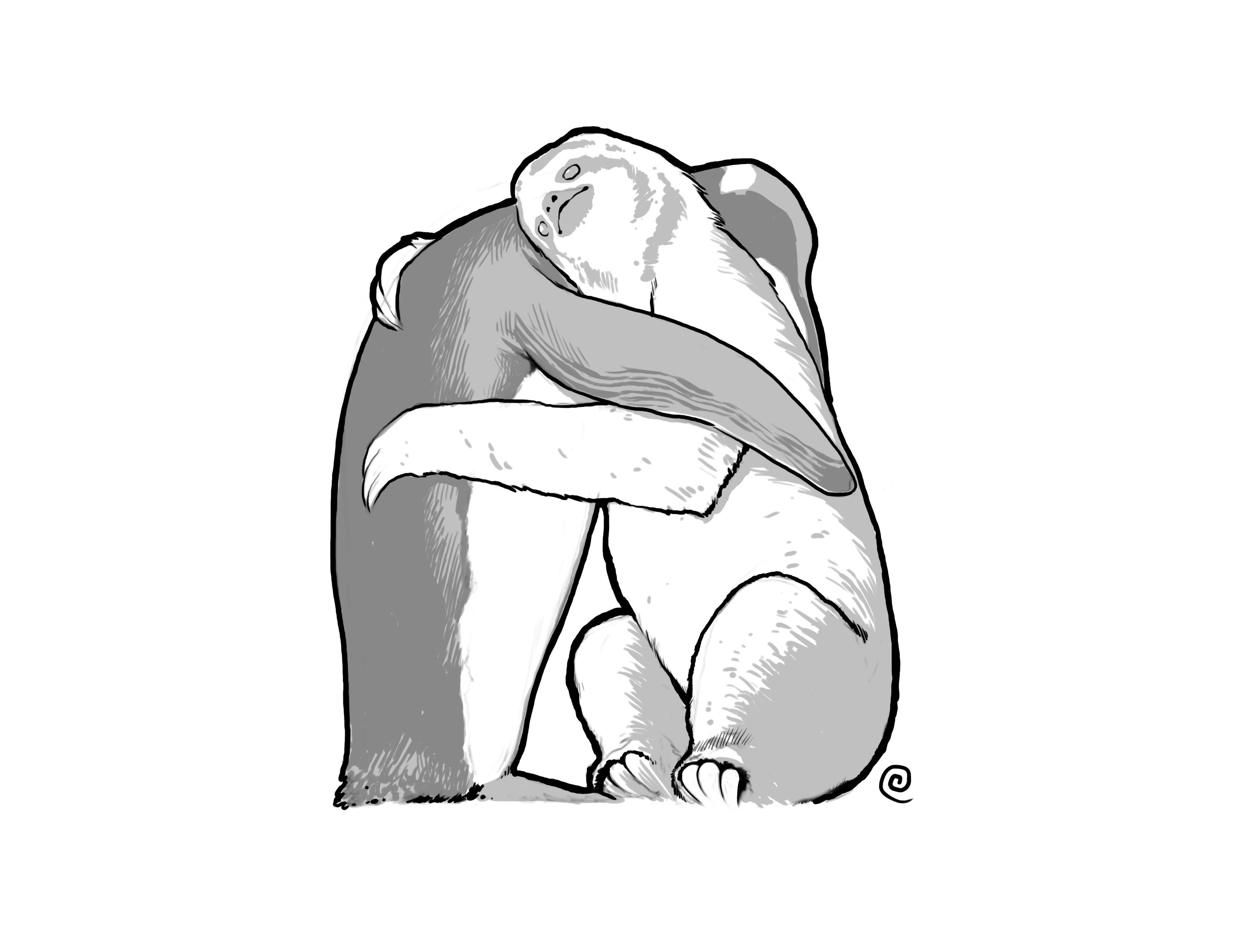 3300x2549 Had Friends And The Internet Draw Me A Sloth Hugging A Penguin. My