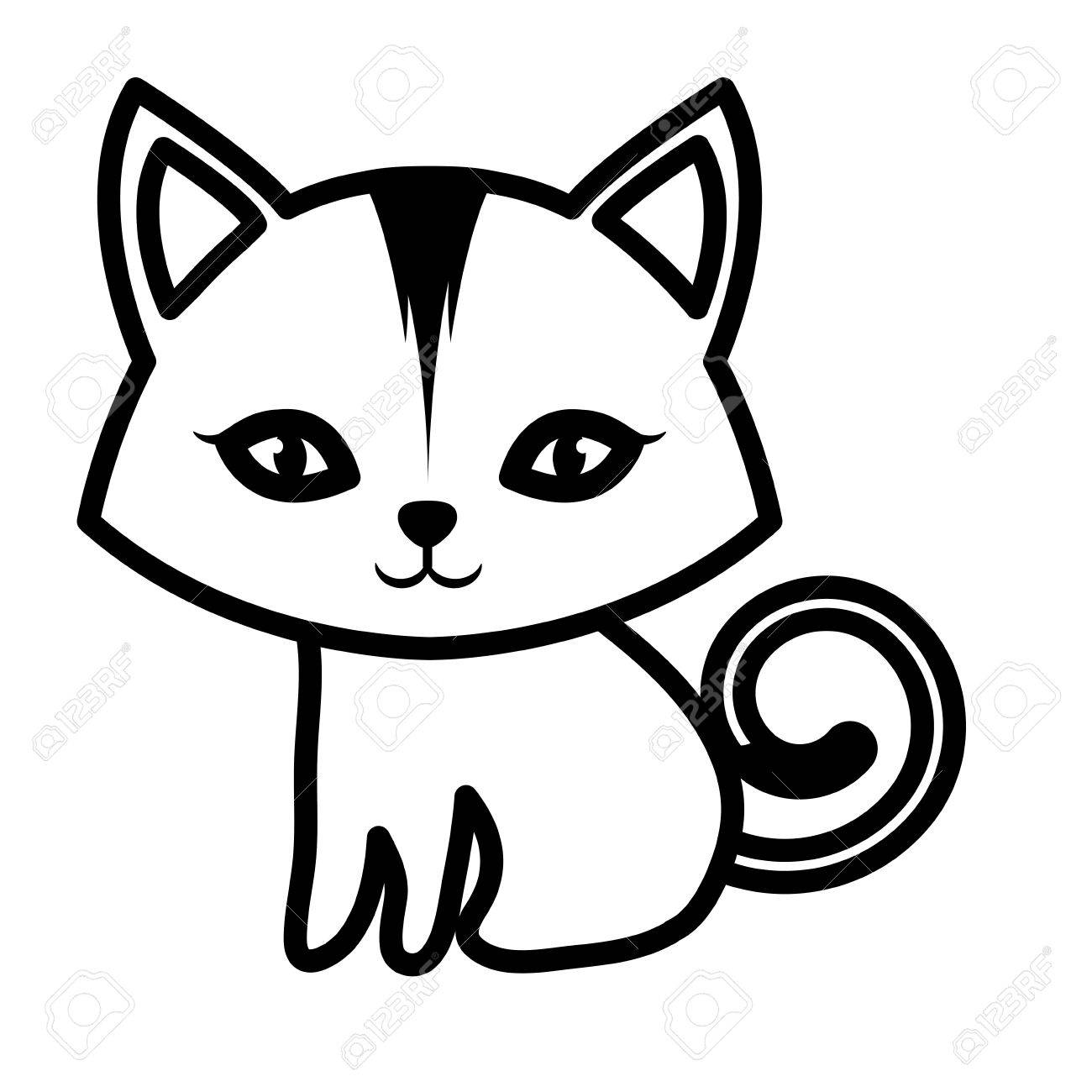 1300x1300 Cat Small Mammal Furry Outline Vector Illustration Eps 10 Royalty