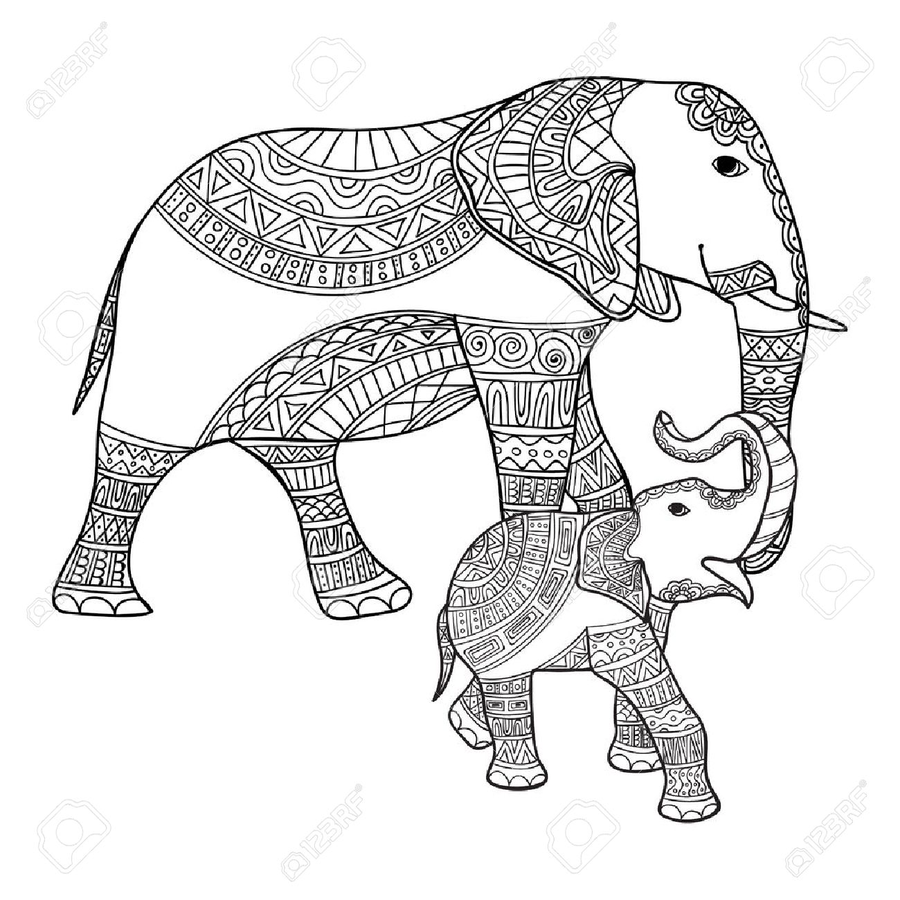 1300x1300 Big And Small Elephant Anti Stress Coloring Book For Adults