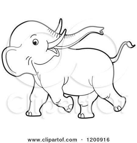 450x470 Cartoon Of A Cute Black And White Outlined Playful Baby Elephant