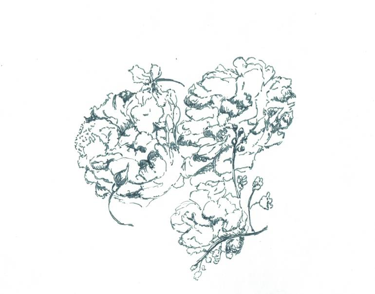 770x603 Saatchi Art Dutch Still Life Outline Drawing With Peonies