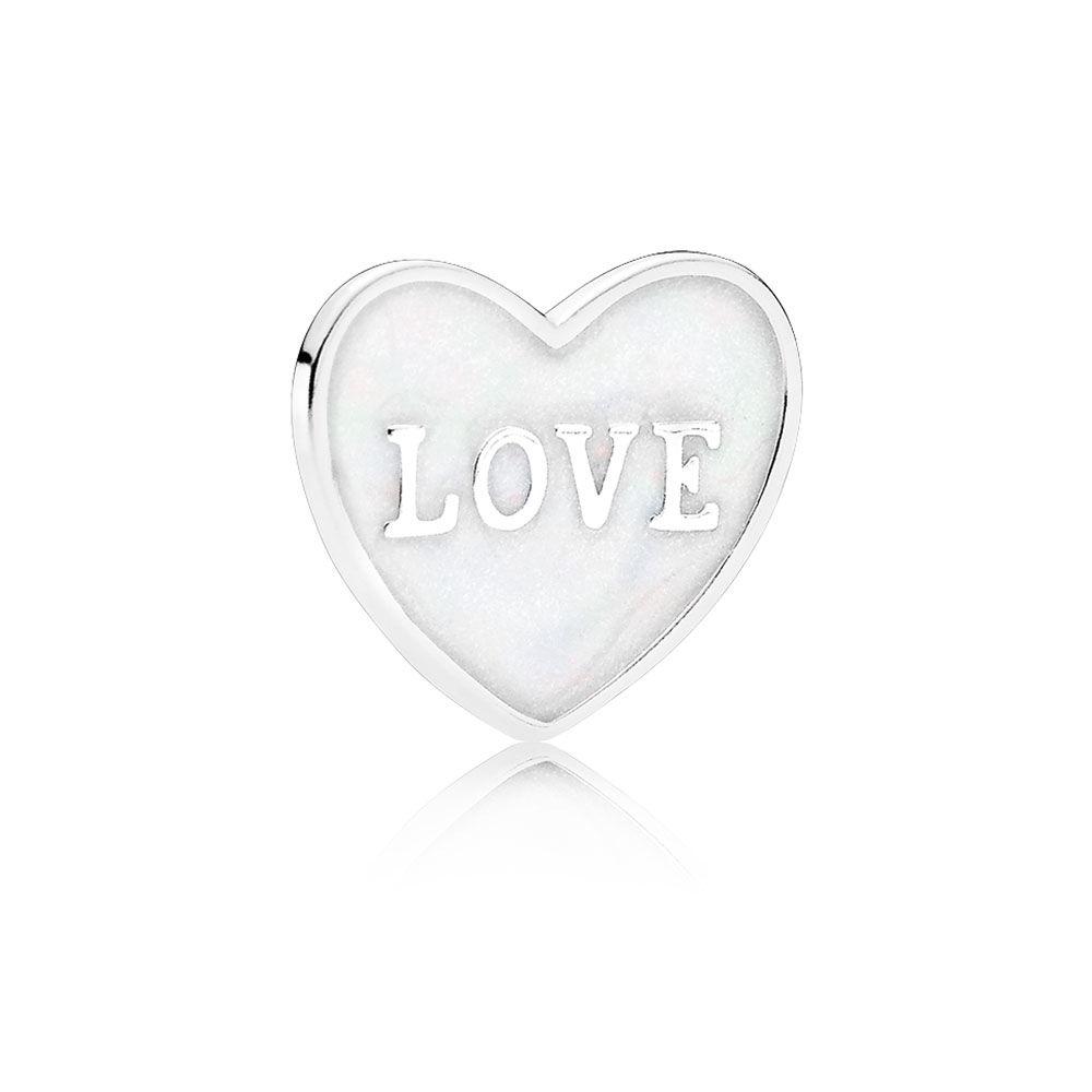 1000x1000 Love Heart Plate, Small, Silver Enamel Pandora Jewelry Us