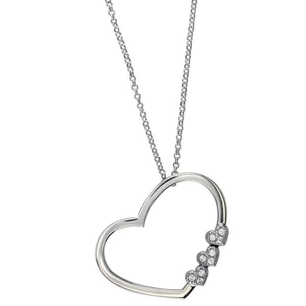600x600 Open Heart 3 Small Hearts Necklace In Sterling Silver