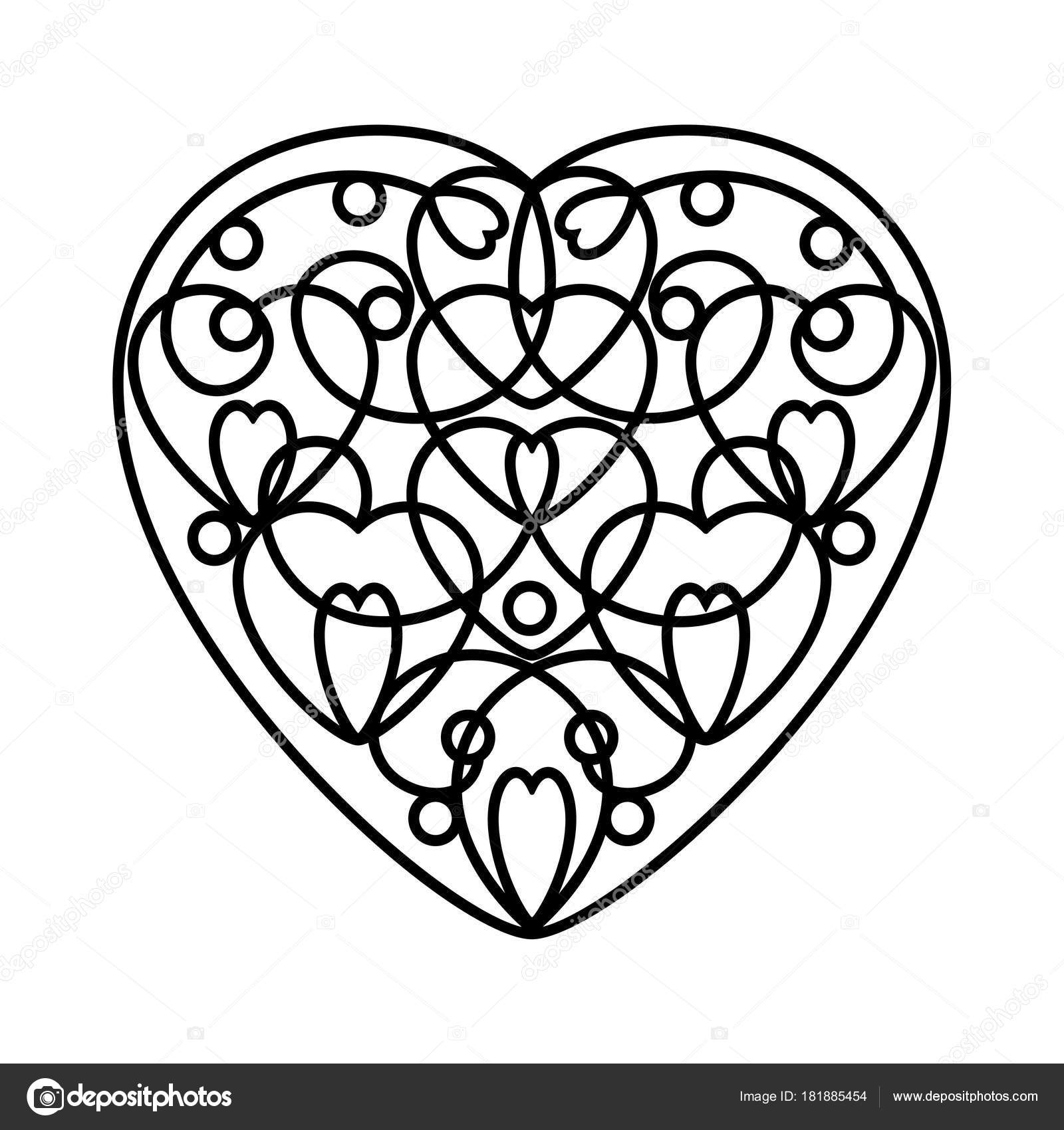 1600x1700 Contour Heart Contours Small Hearts Hand Draw Doodle Black White