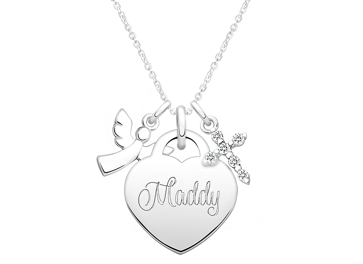 722x525 Heart Create Your Own Engraved Layered Necklace For Children