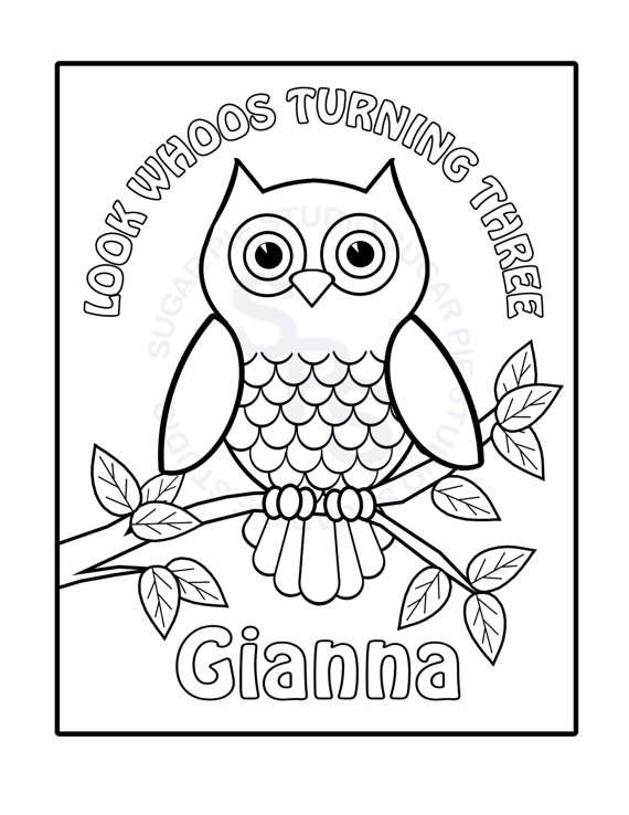 570x738 Personalized Printable Owl Birthday Party Favor Childrens Kids