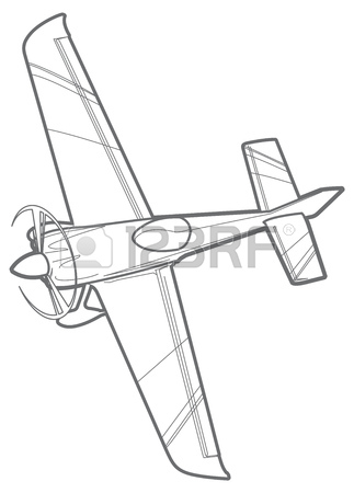 323x450 Line Sport Plane With Propeller. Small Airplane Stock Photo