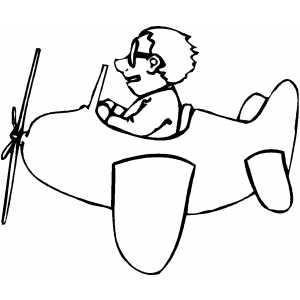 300x300 Man On Small Plane Coloring Page