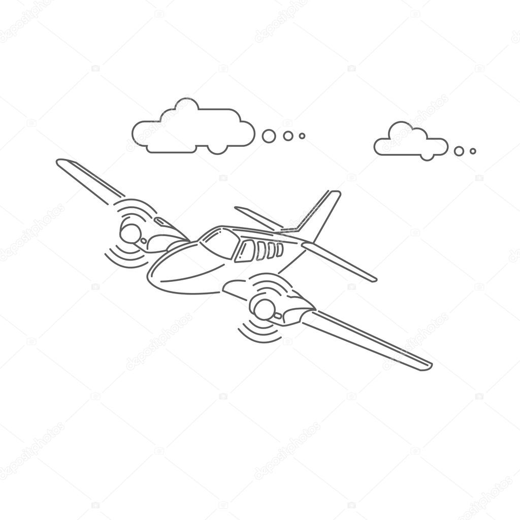 1024x1024 Small Plane Vector Illustration. Twin Engine Propelled Aircraft