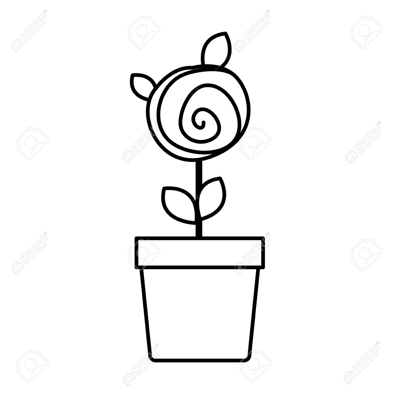 1300x1300 Silhouette Drawing Small Rose With Leaves And Stem In Flowerpot