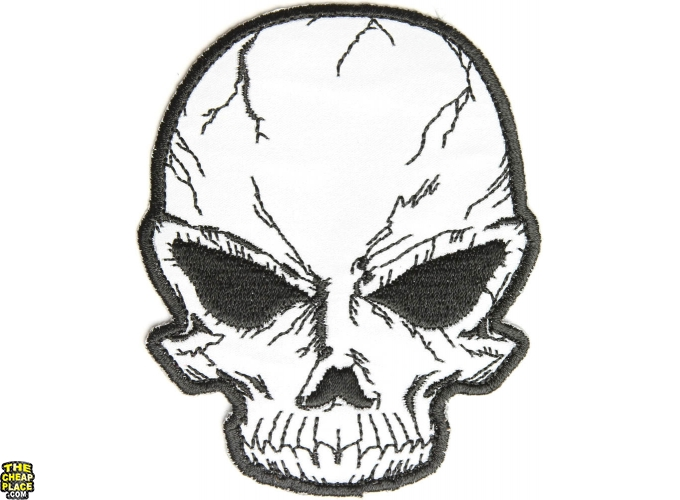 680x500 Reflective Small Cracked Skull Patch Skull Patches Thecheapplace