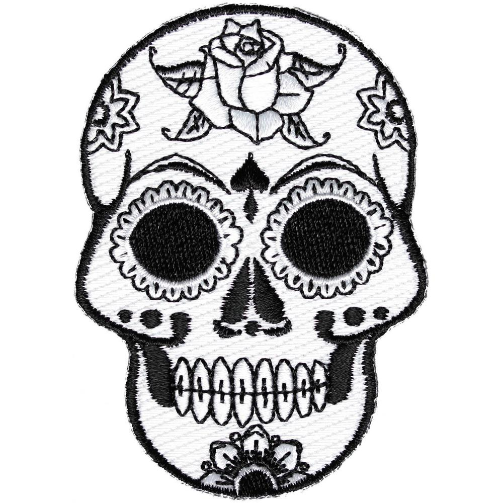1000x1000 Embroidered Small Black White Sugar Skull Iron On Sew On Patch