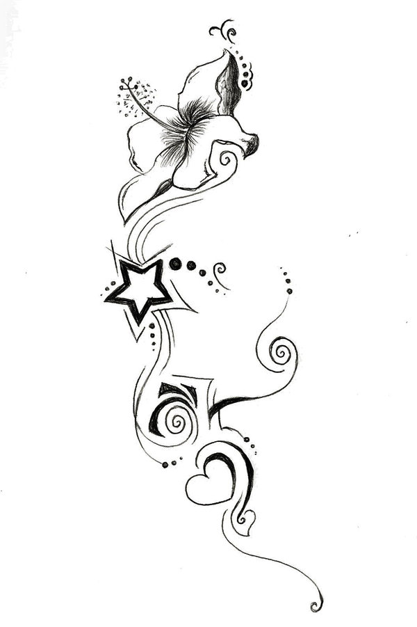 600x901 Small Outline Star And Lily Flower Tattoo Design