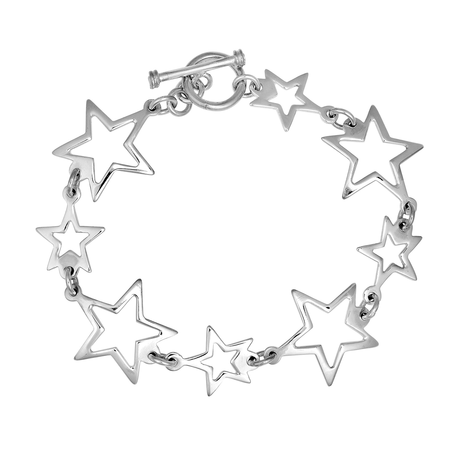 1877x1877 Trendy Small Large Star Link 925 Silver Toggle Bracelet