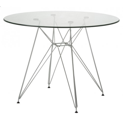 500x500 Replica Charles Eames Round 100cm Glass Dining Table New