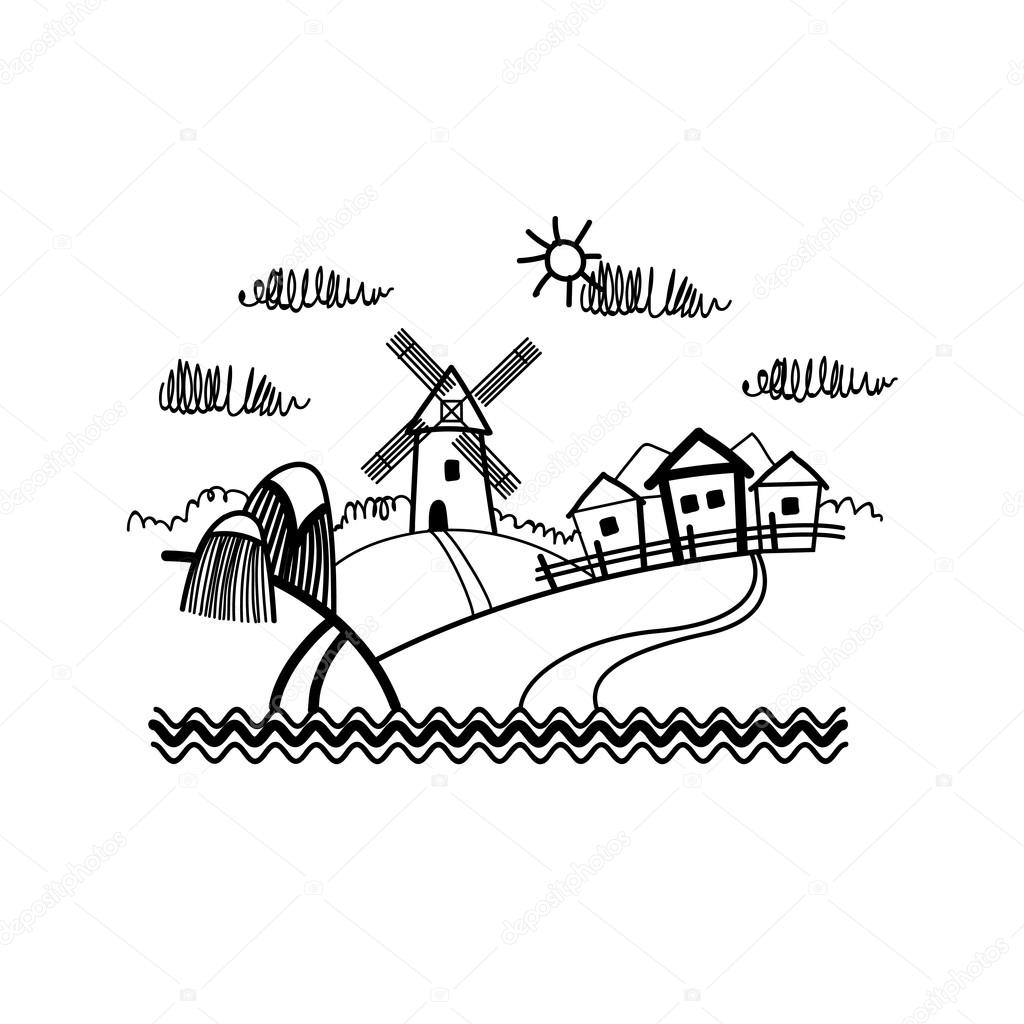 1024x1024 Small Village View Sketch Simple Line Stock Vector Mast3r