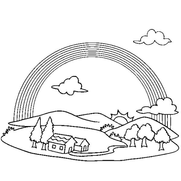 600x600 A Wonderful View Of Rainbow Over A Small Village Coloring Page