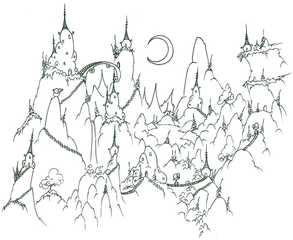 1000x820 Coloring Page A Monkey Village In The Mountains